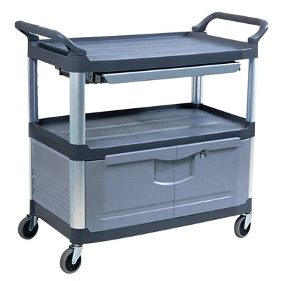 Chariot de collations Rubbermaid (avec portes  /  gris)